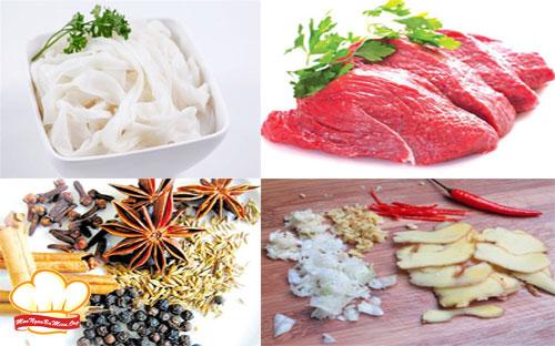 Nguyên liệu nấu phở bò sốt vang Hà Nội