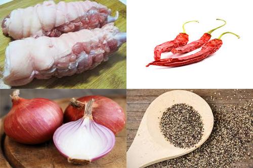 Chuẩn bị nguyên liệu cho món thịt lợn kho tiêu