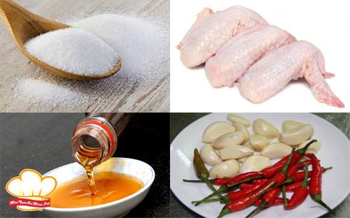 Nguyên liệu cần chuẩn bị cho món cánh gà chiên nước mắm tỏi ớt