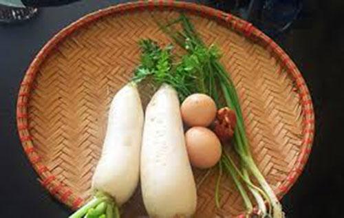 Nguyên liệu cần chuẩn bị cho món củ cải xào trứng