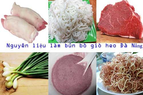 Nguyên liệu làm bún bò giò heo Đà Nẵng
