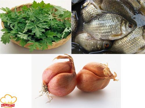 Nguyên liệu làm canh cá diếc nấu ngải cứu