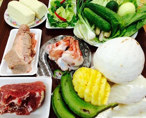 Những nguyên liệu cần chuẩn bị cho món lẩu bò nhúng dấm 4 người ăn