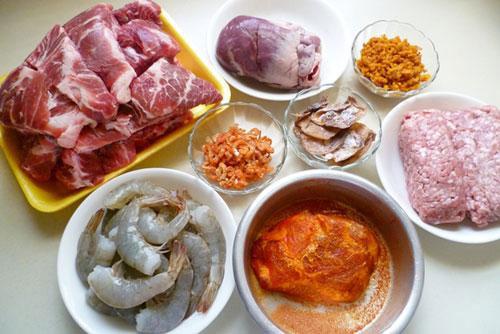 Nguyên liệu nấu hủ tiếu Nam Vang