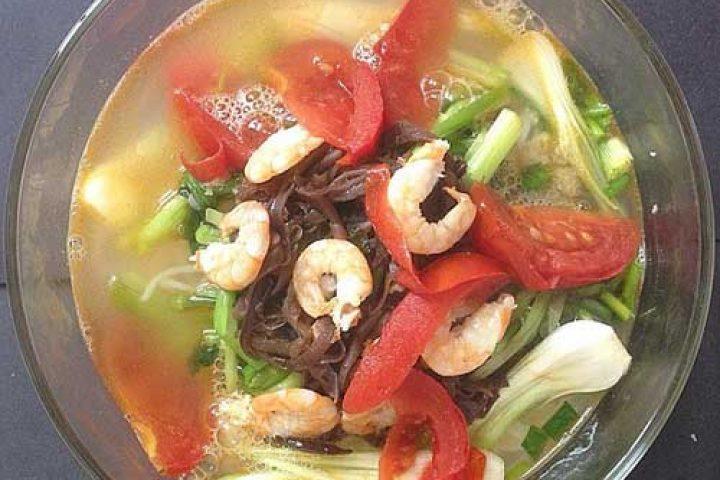 Cách nấu miến tôm Hải Phòng ngon với vị chua cay chuẩn vị