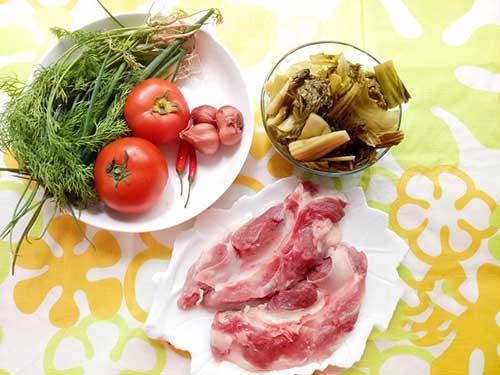 Nguyên liệu làm món canh sườn nấu dưa chua
