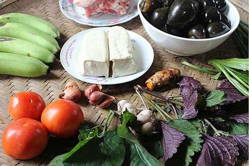 Nguyên liệu nấu canh ốc chuối đậu thịt